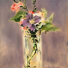 Pinks and clematis in a crystal vase by Gustavo  Barroni