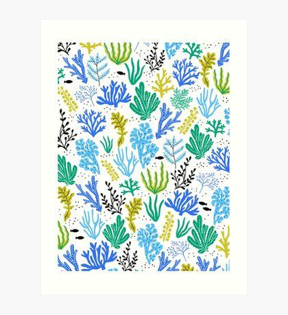 Marine life, seaweed illustration Art Print