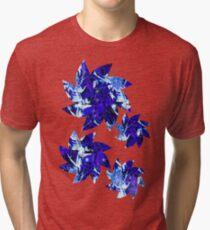 Abstract Blue Flower Pattern Tri-blend T-Shirt