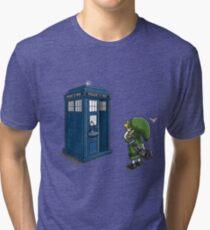 The Legend of Zelda & Doctor Who - Link (Tardis) Tri-blend T-Shirt