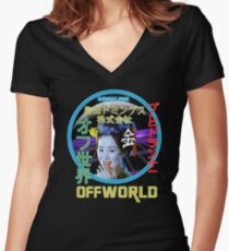 Blade Runner - Blimp Neon Spectacular Women's Fitted V-Neck T-Shirt