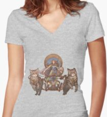 Freya Driving Her Cat Chariot Women's Fitted V-Neck T-Shirt