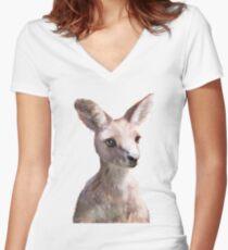 Kleiner Känguru Tailliertes T-Shirt mit V-Ausschnitt
