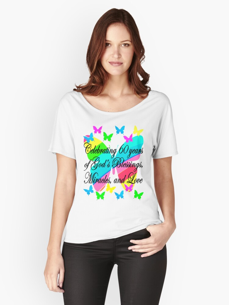 PRETTY BUTTERFLY 60TH BIRTHDAY DESIGN Relaxed Fit T Shirt