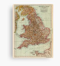 England and Wales Antique Maps Canvas Print