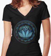 Buddhist lotus yoga sanskrit om Women's Fitted V-Neck T-Shirt
