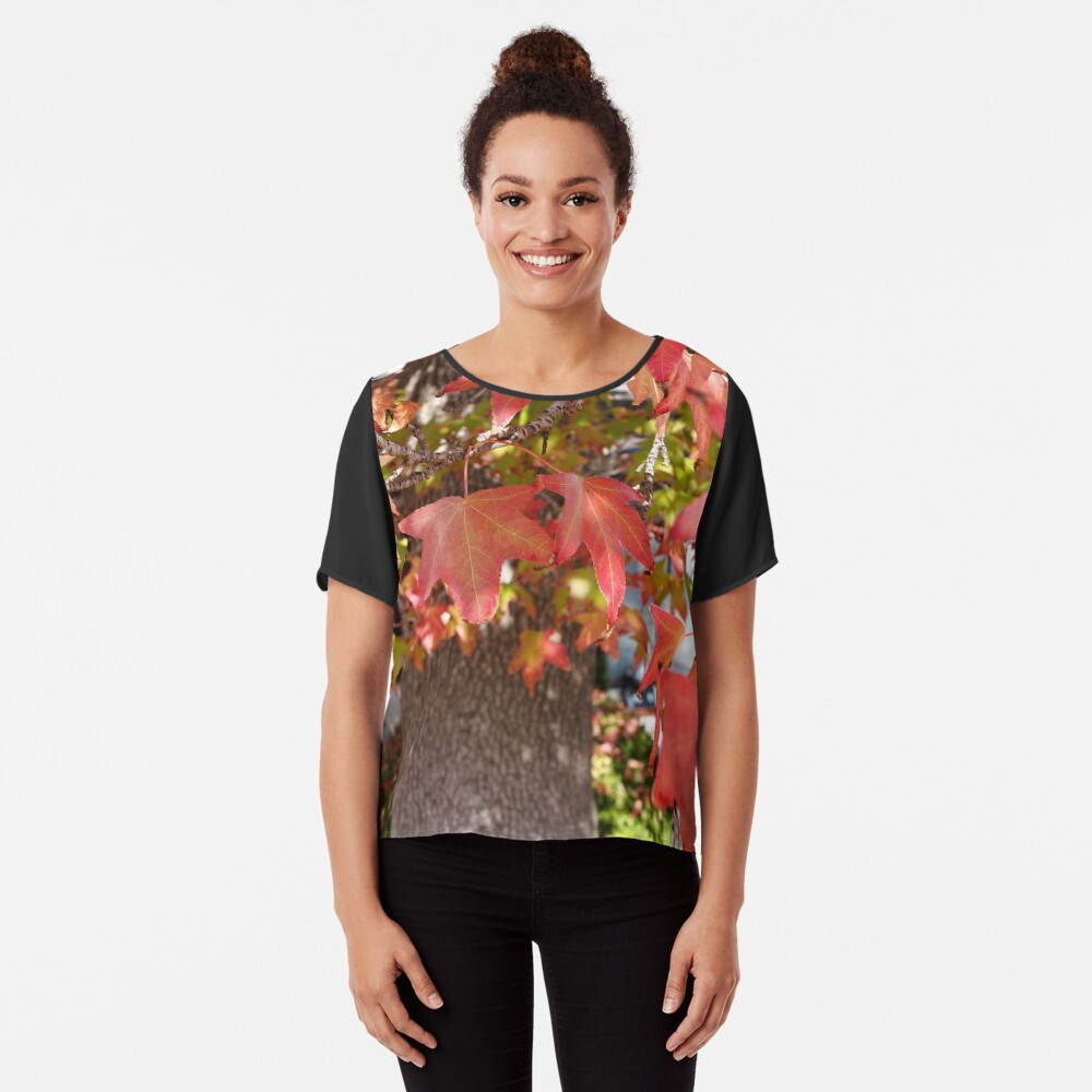 Red Leaves in Autumn Chiffon Top