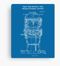 Margaret Knight, Inventor of the Paper Bag Machine - blueprint Canvas Print