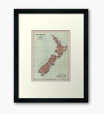New Zealand Antique Maps Framed Print