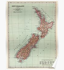 New Zealand Antique Maps Poster
