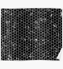 Black and white honeycomb pattern Poster