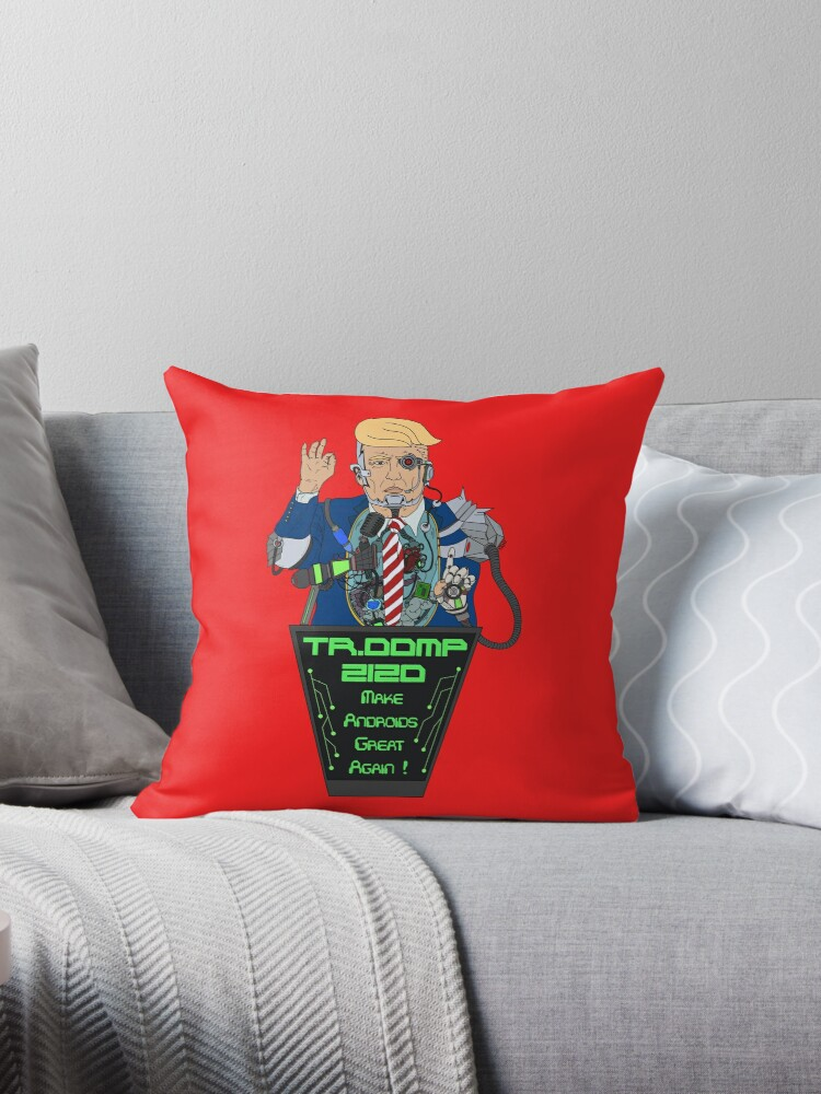 Year 2120 Cyber Trump Throw Pillows By Digitalcleo Redbubble
