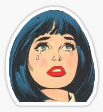 Retro Crying Girl Sticker