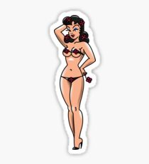 American Traditional Flower Girl Pin-up Sticker