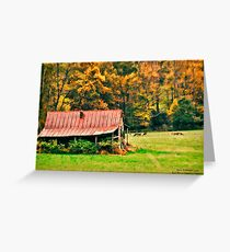 Red Barn and Deer on Blue Ridge Parkway Greeting Card