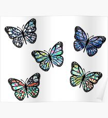 Cute Patterned, Flying Butterflies Pack of 5 Poster