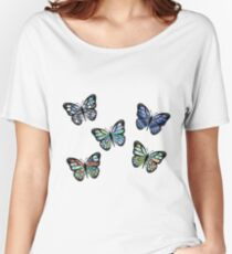 Cute Patterned, Flying Butterflies Pack of 5 Women's Relaxed Fit T-Shirt