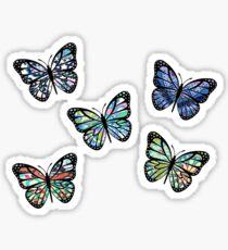 Niedlich gemusterte, fliegende Schmetterlinge 5er Pack Sticker