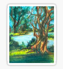 small pond with trees Sticker