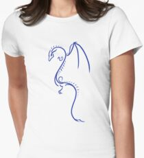 Ink Line Dragon (Blue) Womens Fitted T-Shirt