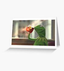 Kermit sipping tea Greeting Card