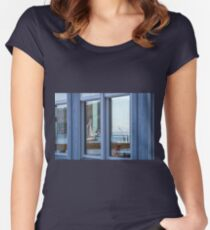Wall Art in the Reflections an Ocean seascape sailing seagull Women's Fitted Scoop T-Shirt