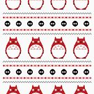 Totoro Winter Pattern - Red by Chloe Morris