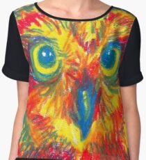 primary color owl Women's Chiffon Top