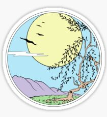 Willow Tree with Sun and Birds Sticker