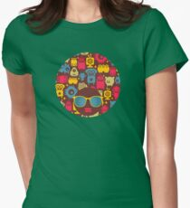 Robot and monsters Womens Fitted T-Shirt