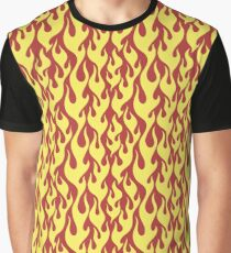 yellow fire flames on a red background Graphic T-Shirt