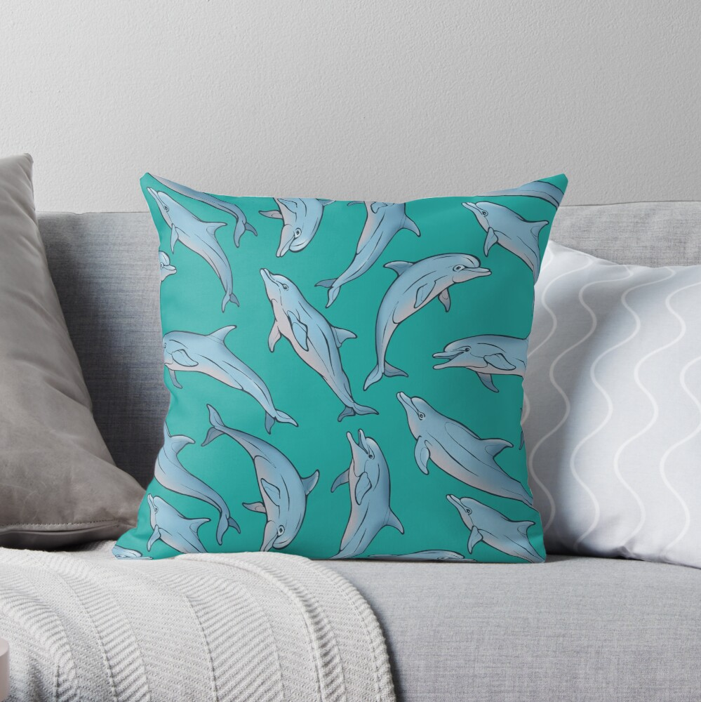 A story about dolphins 3 Throw Pillow