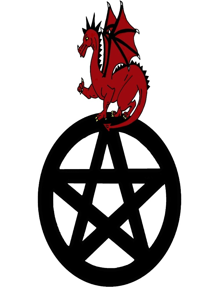 Red Dragon on Pentacle by imphavok