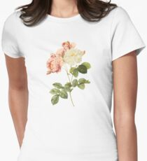 White and pink rose Women's Fitted T-Shirt