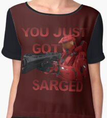 You just got Sarged - Sarge - Red vs Blue Women's Chiffon Top