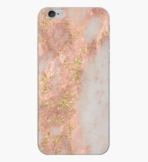 Marble - Rose Gold Marble with Yellow Gold Glitter iPhone Case