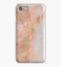 Marble - Rose Gold Marble with Yellow Gold Glitter iPhone Case/Skin