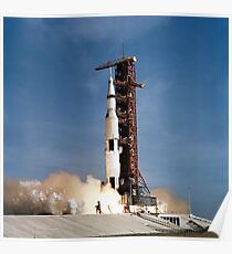 Apollo 11 space vehicle taking off from Kennedy Space Center. Poster
