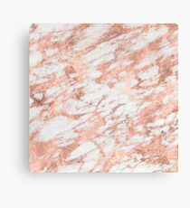 Marble - Pink Rose Gold Marble White Metallic Canvas Print