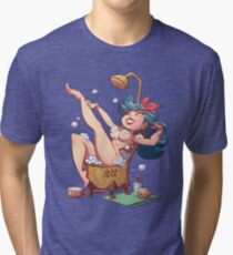 Cute Toon Pinup - Zodiac Aquarius  Tri-blend T-Shirt