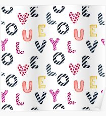 Watercolor letters love you Poster