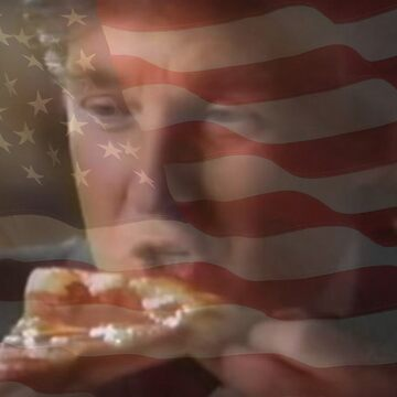 President Trump Eating Pizza by Spaghettiwester