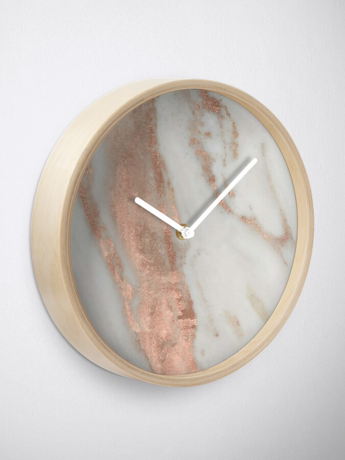 Alternate view of Marble - Rose Gold Shimmery Marble Clock
