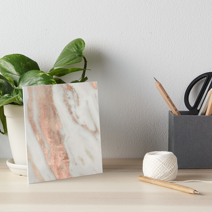 Marble - Rose Gold Shimmery Marble Art Board Print