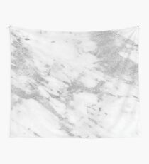 Marble - Silver and White Marble Pattern Wall Tapestry