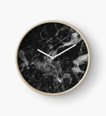 Black and White Marble Pattern Clock