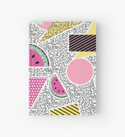 Modern geometric pattern Memphis patterns inspired Hardcover Journal