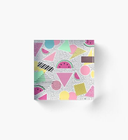 Modern geometric pattern Memphis patterns inspired Acrylic Block