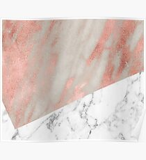 Rose gold marble - carrara Poster