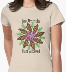 Love Monarchs, Plant Milkweed! Women's Fitted T-Shirt